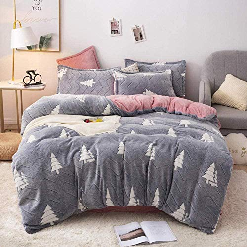 Wool Fleece Duvet Cover Double Snow Fleece Quilt Double-sided Warm Four-piece Single Duvet Cover Quilt Cover Extra Large Bedding Set-?_1.8 M Bed (4 Pieces) Breathable Fitted Sheets Bedding Fitted