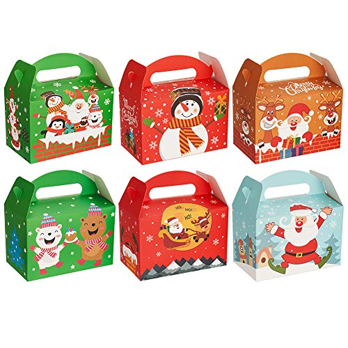 CCINEE 3D Christmas Treat Boxes,Xmas Cookie Boxes with Handle Paper Goody Boxes for Gift giving Packaging,Pack of 24