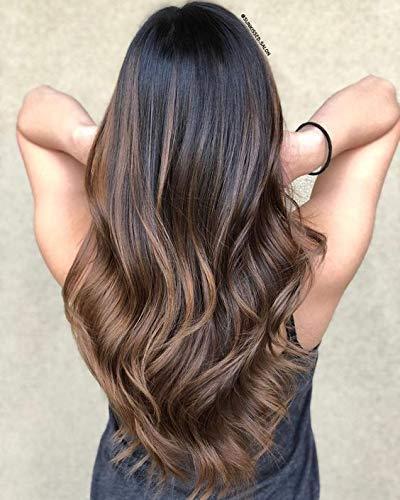 Ugeat 22 Pouces Densite 130 Lace Wig Human Hair Afro #1b/4 Off Black et Dark Brown Ombre 7A Qualite Frise Human Hair Lace Wigs