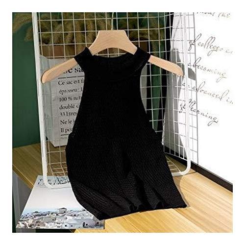 XYBB O Mangas Cuello Tejido de Punto sin Mangas for Mujer de Aptitud Femenina Chaleco for señoras Atractivas Verano Tops Chaleco de Ganchillo Top (Color : Black, Size : One Size)