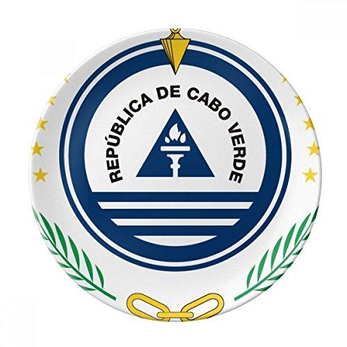 DIYthinker Cap-Vert Pays National Emblem décoratif en Porcelaine Assiette à Dessert 8 Pouces Dîner Accueil Cadeau 21cm diamètre Multicolor