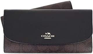 Coach Signature Leather-Trim Checkbook