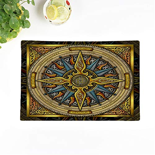 Topyee Set of 4 Placemats Artoffoxvox Celtic Compass Fine Irish Steampunk Nautical Gaelic Knotwork 18x12.5 Inch Parties Decor Non-Slip Washable Place Mats for Kitchen Dinner Table Mats
