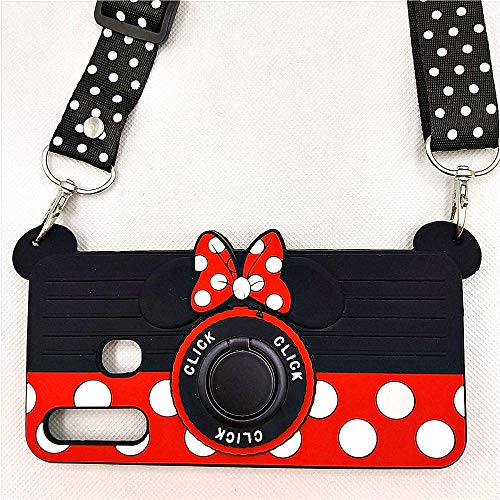 Galaxy A20 Case, Galaxy A30 Case, Galaxy A50 Case Cute Minnie 3D Camera with Rotating Ring Grip Holder Kickstand Teens Girls Women Kids Soft Silicone Rubber Cover for Samsung Galaxy A20 A30 A50 (A30)