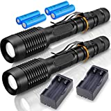 20000 Lumen Brightest LED Tactical Flashlights (2 PACK), Ultra Bright Professional Military Torch Light 5 Mode Adjustable Brightness Waterproof LED Flashlight with Battery Charger (Black)