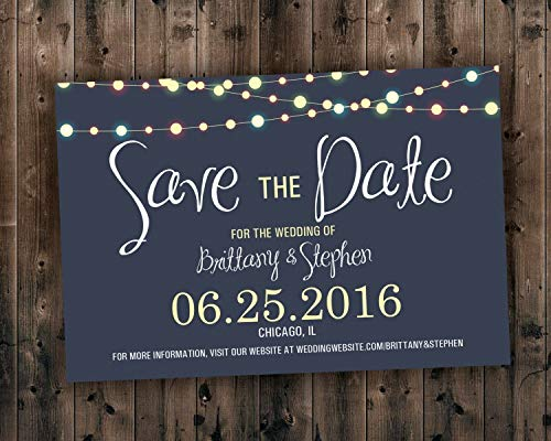 SAVE THE DATE cards, Save the Dates, Lights Save the Date Invite, Postcard, Wedding Announcement, Night, Blue