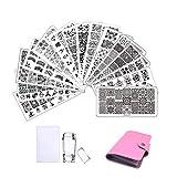 15Pcs Nail Stamp Plates set 1 Stamper 1Scraper 1Storage Bag Nail Templates Lace Flower Geometric Animal Pattern Nail Art Plate Scraper Stamper Set
