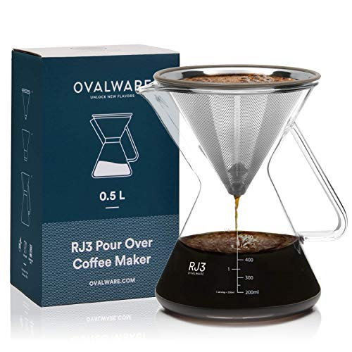 OVALWARE Pour Over Coffee Dripper Maker - (17oz / 0.5L) Unlock New Flavors with Paperless Stainless Steel Filter, Precision Measuring Cup and Carafe