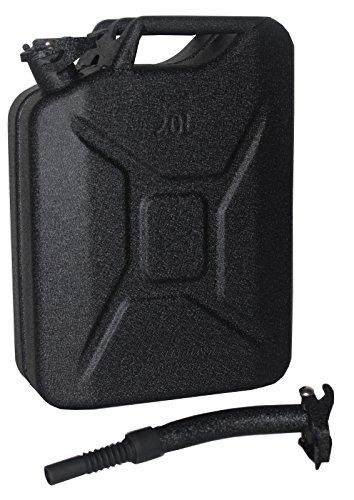 TRUTZHOLM Metallkanister 20l Benzinkanister Kanister Hammerschlag schwarz + Ausgießer flexibel + Halterung