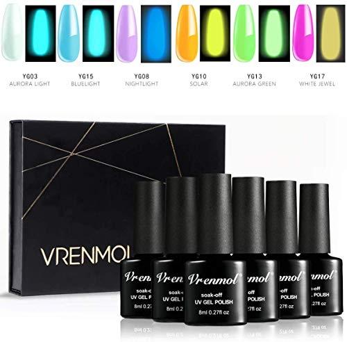 Vrenmol Glow in The Dark Nagellack Leuchtgel Nagellack Set Fluoreszierendes helles Nagelgel UV LED...