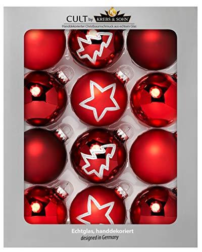 Heitmann Deco Krebs & Sohn Set di 12 Palline di Natale in Vetro - Albero di Natale Deco Appeso - Palle di Natale 8 cm - Rosso Stelle