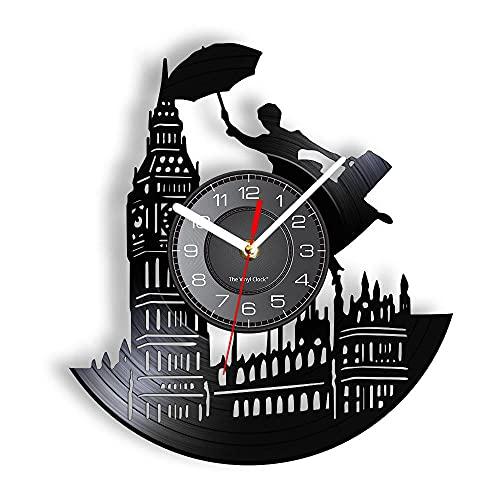 yltian London Skyline View Big Ben Tower Reloj de Pared con Registro Retro Inglaterra Decoración del hogar Reloj de Pared Retro Mudo