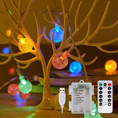 Globe Fairy Lights Battery Powered Waterproof String Lights 8 Modes, 100 Led 10m Battery Operated or USB Powered with Remote for Garden Lights, Gazebo Light, Outdoor Christmas Lights