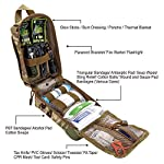 EVERLIT 250 Pieces Survival First Aid Kit IFAK Molle System Compatible Outdoor Gear Emergency Kits Trauma Bag for… 10 ✅【Exclusive 250 PCS First Aid Survival Kit Contained a Military Molle EMT Pouch】Uniquely customized by U.S military veterans, field tested by EX- Army Sergent, designed to get you well-prepared in an emergency situation. The kit combines 241 PCS First Aid Supply with 9 powerful Survival Gear into a Must-Have EDC emergency kit. ✅【Comprehensive First Aid Treatment Exceeds OSHA Guidelines For Single Family】The kit contains more than enough supply to treat a single family or a group of friends under emergency circumstances. Perfect for taking care of any medical or emergency needs during outdoor wilderness adventures such as camping, boy scouts, hiking, hunting and mountain biking, etc. ✅【Molle Compatible, Durable, Portable, and Water-Resistant】The military grade EMT bag was made from 1000D water-resistant nylon, it offers three large compartments and plenty of rooms to add your own gear. The overall dimension of the kit is 8'' x 6.5'' x 5'' and weight only 1.9 lbs. The molle compatible straps on the back allow the user to attach it to other bags or your belt, which made it a perfect companion for any outdoor activities.