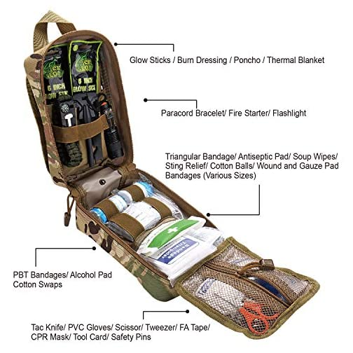 EVERLIT 250 Pieces Survival First Aid Kit IFAK Molle System Compatible Outdoor Gear Emergency Kits Trauma Bag for… 4