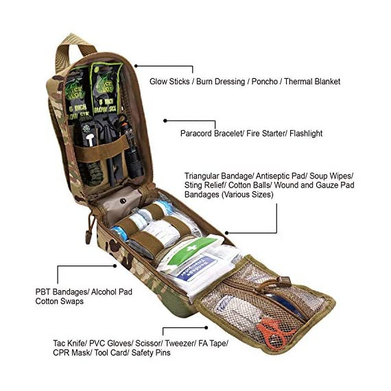 EVERLIT 250 Pieces Survival First Aid Kit IFAK Molle System Compatible Outdoor Gear Emergency Kits Trauma Bag for… 2 ✅【Exclusive 250 PCS First Aid Survival Kit Contained a Military Molle EMT Pouch】Uniquely customized by U.S military veterans, field tested by EX- Army Sergent, designed to get you well-prepared in an emergency situation. The kit combines 241 PCS First Aid Supply with 9 powerful Survival Gear into a Must-Have EDC emergency kit. ✅【Comprehensive First Aid Treatment Exceeds OSHA Guidelines For Single Family】The kit contains more than enough supply to treat a single family or a group of friends under emergency circumstances. Perfect for taking care of any medical or emergency needs during outdoor wilderness adventures such as camping, boy scouts, hiking, hunting and mountain biking, etc. ✅【Molle Compatible, Durable, Portable, and Water-Resistant】The military grade EMT bag was made from 1000D water-resistant nylon, it offers three large compartments and plenty of rooms to add your own gear. The overall dimension of the kit is 8'' x 6.5'' x 5'' and weight only 1.9 lbs. The molle compatible straps on the back allow the user to attach it to other bags or your belt, which made it a perfect companion for any outdoor activities.