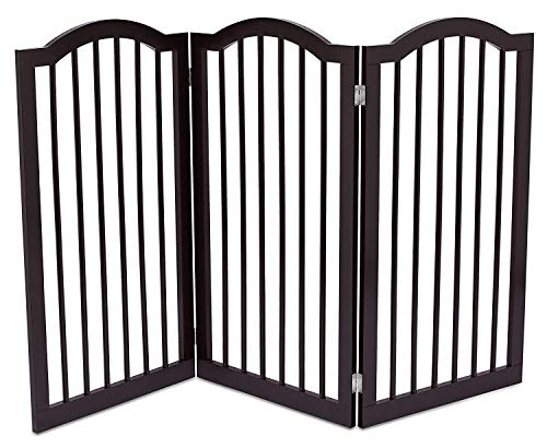 Internet's Best Pet Gate with Arched Top - 3 Panel - 36 Inch Tall Fence - Free Standing Folding Z Shape Indoor Doorway Hall Stairs Dog Puppy Gate - Fully Assembled - Espresso - MDF