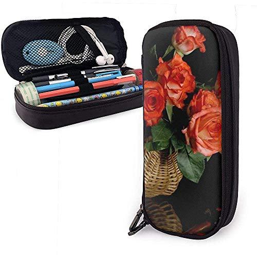 Rosenvase Stillleben PU Ledertasche Aufbewahrungstaschen Tragbare Student Bleistift Büro Schreibwaren Tasche Reißverschluss Brieftaschen Make-up
