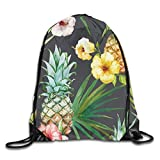 Lawenp Plegable Tropical Pattern Pineapple Hibiscus Exotic Backgrounds Drawstring Bag, Sports Cinch Sacks String Drawstring Backpack for Picnic Gym Sport Beach Yoga