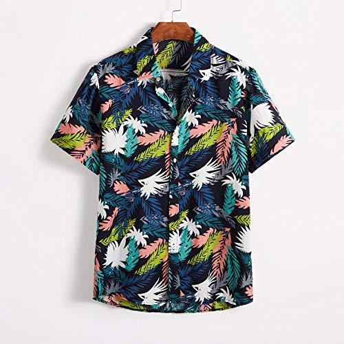 Short Sleeve Shirt Men Fashion Summer Cotton Bohemian Printing Baggy Male Blouse-Beige_L_0