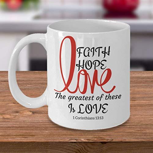 ChGuangm Scripture Coffee Mug Faith Hope Love 1 Corinthians 1313 Coffee Mug Tea Cup Bible Verse Coffee Mug Church Mug Christian Gift Scripture Mug