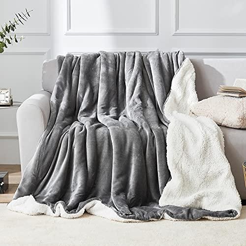 EHEYCIGA Sherpa Decke – wohndecken kuscheldecken 150x200 grau - extra weiche und warme Decke Sofa, als Sofadecke, Couchdecke oder wohndecke, XL Flauschige Kuschel Decke