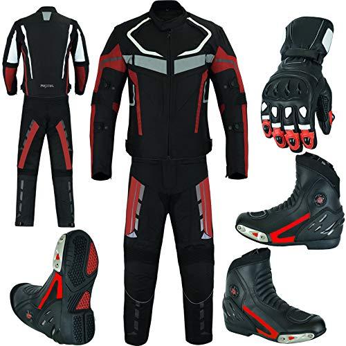 RXL Trajes de moto impermeable chaqueta de moto con pantalón, botas y guantes Paquete rojo CE Armor para hombre Envíanos un mensaje con tu talla de zapatos y guantes (S Chaquetas, Pantalón W34-L32)