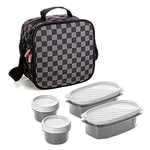 Tatay Urban Food Casual, Bolsa Térmica Porta Alimentos, 3L de Capacidad, con 4 Tuppers Herméticas (2 x 0.5L, 2 x 0.2L), Color Ajedrez. Medidas 22.5 x 10 x 22 cm