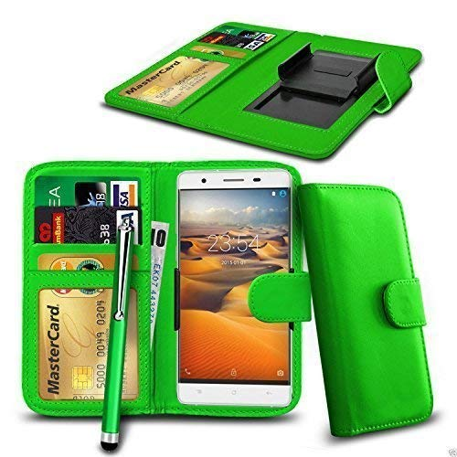 N4U Online Clip On PU Leather Wallet Case Cover & Pen For Acer Liquid Z530 - Green