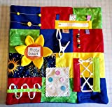"""Fidget Quilt Handmade in the U.S.A. Memory Loss & Alzheimer's Blanket Dementia Toy with Sunflower Picture Holder. Size 22"""" x 22"""""""