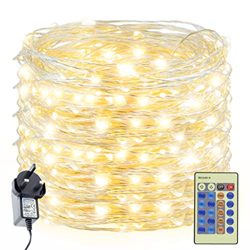 Decuteuk 300 LED Fairy Lights 30m Silver Wire String Lights w/Remote, LED Firefly Lights Starry Light for DIY Christmas Tree Costume Wedding Party Table Centerpiece Decor (Warm White)