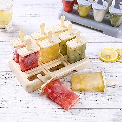QWERT 3 Stücke Sommer Hausgemacht Eisformen Stieleis Plastik Kinder Erwachsene DIY EIS Set Wiederverwendbar EIS am Stiel Schimmel BPA Frei,Beige