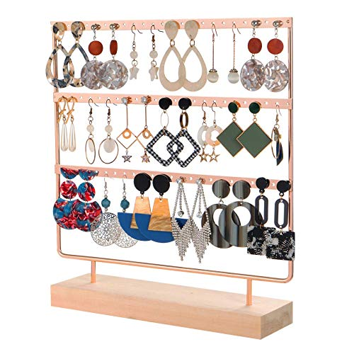 Yodio Earring Holder 4-Tier Ear Stud Holder Earring Stand Diplay Rack Luxury Jewelry Stand Display Holder Hanger Rack Tower with Wooden Tray for Earrings Necklace Bracelet Rings 69 Holes (Rose gold)