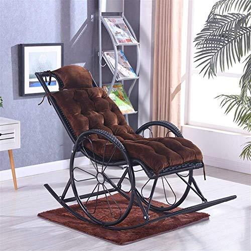 Cojín de asiento cuadrado para tumbona, cojín antideslizante para silla mecedora, cojines de salón de color sólido con relleno para jardín, exterior, interior, colchón, marrón, tamaño: 125 x 46 cm