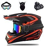 Bduck Casco de moto de cross y enduro para niños y jóvenes, para bicicleta de montaña, ATV, BMX, juego de 4 piezas