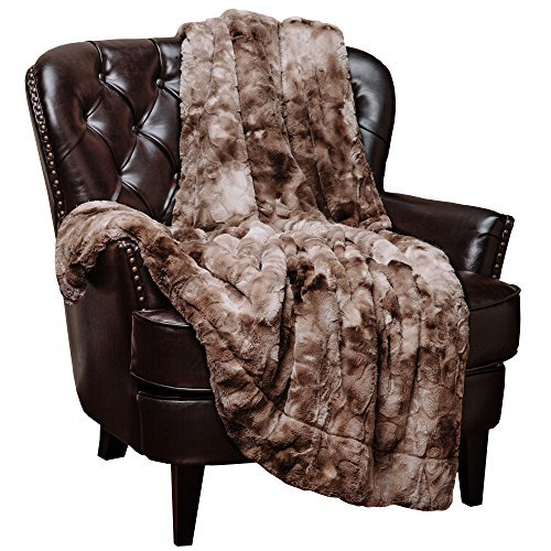 Chanasya Super Soft Fuzzy Faux Fur Throw Blankets - Fluffy Plush Lightweight Cozy Snuggly with Sherpa for Couch Living Room Bedroom - Light Brown Fall & Winter Home Decor (50x65 Inches) Beige Blanket