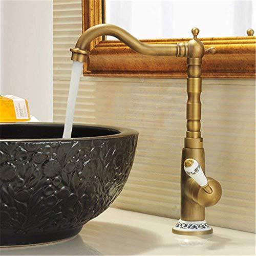 FXDCQC Antike Küche Spülbecken Alle Kupfer antiken Küche Wasserhahn 360° schwenkbare Waschbecken Wasserhahn am Waschbecken Kalt- und Warmwasser Mischventil Hahn Plus