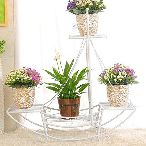 Étagères de porche Porte-fleurs en fer, salon Pot de pot de fleurs Balcon Bonsai Frame Plant Display Stand Support de plante de boîte à fleurs (Couleur : A, taille : 76 * 74CM)