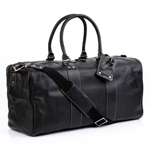 BACCINI Reisetasche echt Leder Toby XL groß Sporttasche Weekender Ledertasche Unisex 52 cm schwarz
