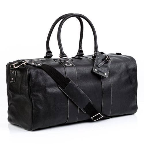 BACCINI Reisetasche echt Leder Toby XL groß Sporttasche Weekender Ledertasche 52 cm schwarz