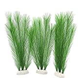 fregthf Acuario Planta Plantas Artificiales de plástico Verde Hierba Artificial para Peces de Acuario Tanque 3PCS