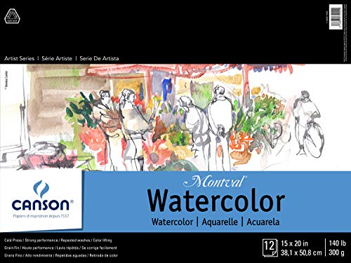 DIXON TICONDEROGA - CANSON 100511053 Canson Montval Watercolor Pad, Cold Press Acid Free French Paper, Fold Over, 140 Pound, 15 x 20 Inch, 12 Sheets, 15'X20', 0