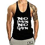 YeeHoo Homme NO Pain NO Gain Imprimé Workout Débardeur sans Manches Gym Tank Top Fitness