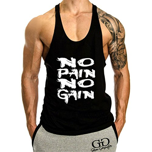 YeeHoo Homme NO Pain NO Gain Imprimé Workout Débardeur sans Manches Gym Tank Top Fitness