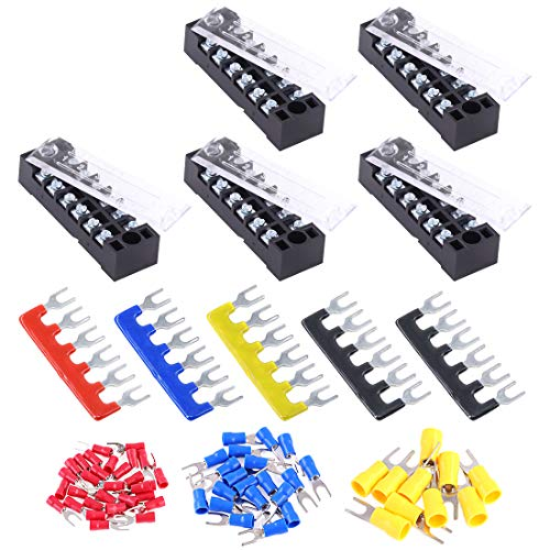 Glarks 70Pcs(5Sets) Terminal Block Set, 5Pcs 6 Positions 600V 15A Dual Row Screw Terminals Strip + 5Pcs Pre-Insulated Barrier Strips + 60Pcs Insulated Fork Wire Connector (6P+Fork Connector)