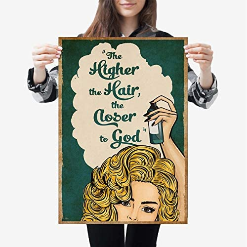 The Higher The Hair The Closer To God Hairstylist Hairdresser Hair Stylist Salon Vintage Portrait product image