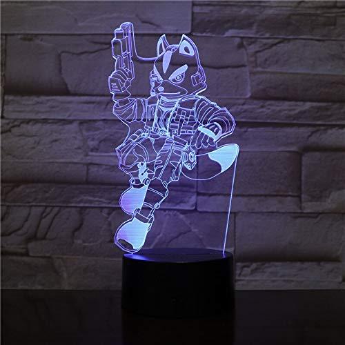 Jiushixw 3D acryl nachtlampje met afstandsbediening van kleur veranderende lamp kat zwart Sheriff Lanpara Desktop Animation Office kinderen vakantie geschenk Art Deco tafellamp elektrische