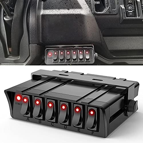 Nilight - 6 Gang Rocker Switch Box SPST Toggle Switch Panel 12V 24V 20A Switch...