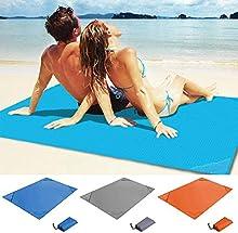 Pakopjxnx Manta de Playa al Aire Libre Manta de Bolsillo Impermeable a Prueba de Calor Sábana Fina Fina a Prueba de Arena - Estera de Playa Plegable Ligera, Azul, XL