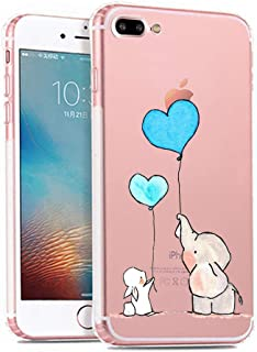 iPhone 7 Plus Case,iPhone 8 Plus Case,Cute Novelty Animal Pattern on Soft TPU Silicone Protective Skin Ultra Slim Clear with Unique Design Bumper Back Cover for iPhone 7 Plus 8 Plus,Elephant Bunny